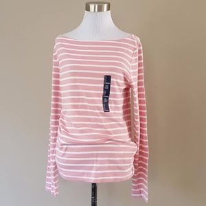 Gap Pink White Striped Tee Pullover Large